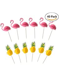 Flamingo Pineapple 3D Cupcake Toppers, Set of 20 Flamingo Toppers and 20 Pineapple Toppers, Luau Tropical Hawaiian Pool Party Supplies, Wedding, Birthday Cake Decorations
