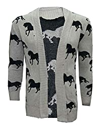 REAL LIFE FASHION LTD. Womens Long Sleeves Horse Print Knitted Cardigan Top