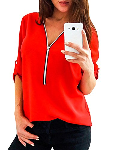 4 Aron Manches Chemisier ONE The Pour Femme 3 Rouge Dcontract Blouse OqHAHwB6