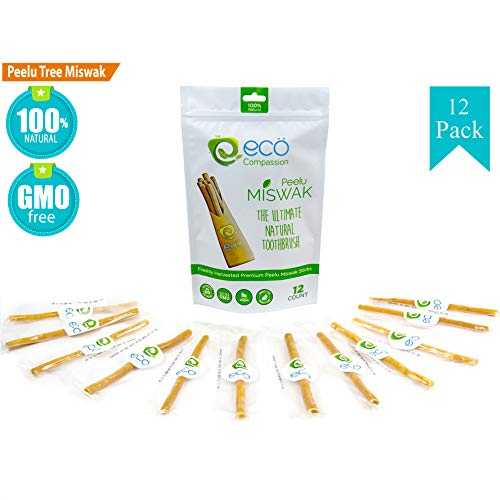 (12 Peelu Miswak Sticks for Teeth by Eco Compassion, 100% Natural Toothbrush | Eco Friendly Sewak Chewing Stick | Best Natural Teeth Whitening Pen | Whiter, Fresher Breath | A Healthy Manual Toothbrush)