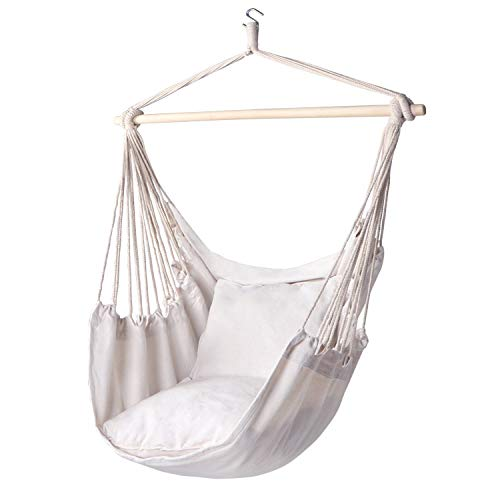 Y- STOP Hammock Chair Hanging Rope Swing - Max 320 Lbs - 2 Seat Cushions Included - Quality Cotton Weave for Superior Comfort & Durability(Beige) (Renewed)