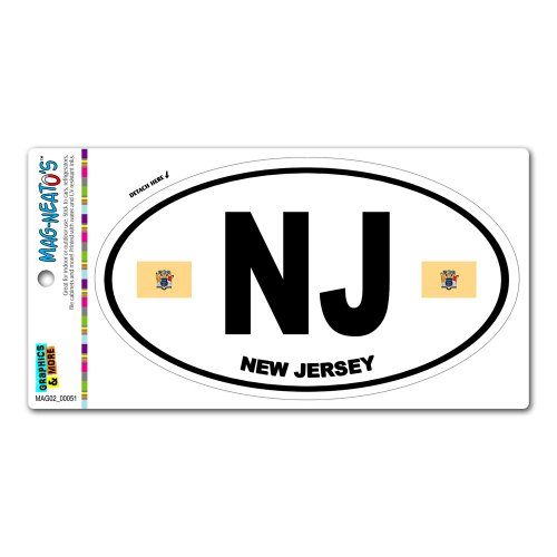 New Jersey State Flag - NJ Euro Oval MAG-NEATO'S™ Automotive Car Refrigerator Locker Vinyl Magnet New Jersey State Auto