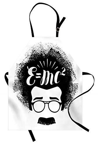 Einstein Costume Ideas (Lunarable Einstein Apron, Grunge Style Portrait of Famous Scientist with Formula Vintage Illustration, Unisex Kitchen Bib Apron with Adjustable Neck for Cooking Baking Gardening, Black and)