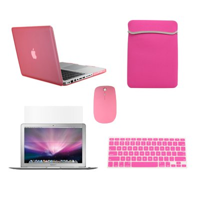 """Top Case Macbook Pro 13"""" 13-inch (A1278 / with or without Thunderbolt) 5 in 1 Bundle - Ultra Slim Light Weight Rubberized Hard Case Cover + Matching Color Soft Sleeve Bag + Wireless Mouse + Silicone Keyboard Cover + LCD HD Clear Screen Protector - NOT FOR RETINA DISPLAY - with Top Case Mouse Pad (PINK)"""