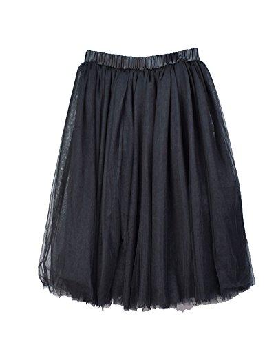 Falda Midi Larga En 5 Capa De Tul Falda Danza Ballet Falda A-Lìnea Cintura Elástica Tutú Princesa Tul Skirt Para Mujer Negro