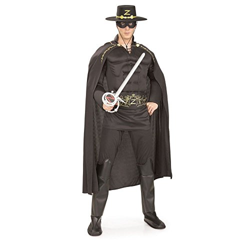 Deluxe Adult Zorro Costumes (Deluxe Muscle Chest Zorro Costume, White, One Size)