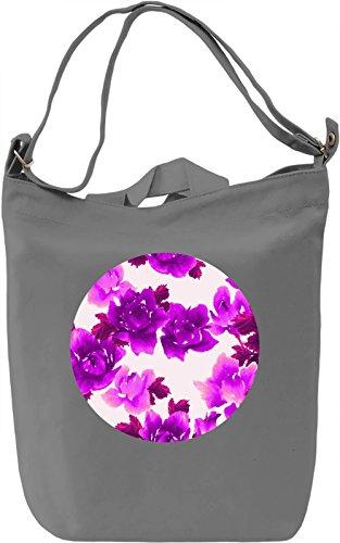 Purple Flowers Borsa Giornaliera Canvas Canvas Day Bag  100% Premium Cotton Canvas  DTG Printing 