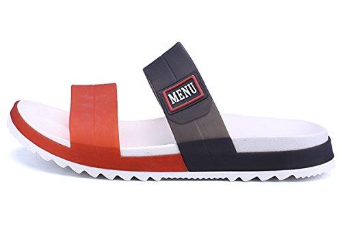 (WangJiaoHou Mens Slip On Sandals Slippers Comfortable Shower Slides Beach Pool Slip Open Toe Ring Sandals(9.5,Orange))
