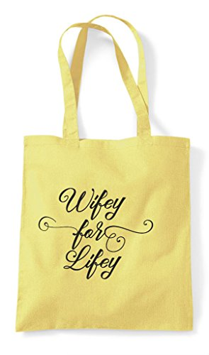 Hen Party Customised - Wifey For Lifey Personalised Hen Do Tote Bag Shopper Lemon