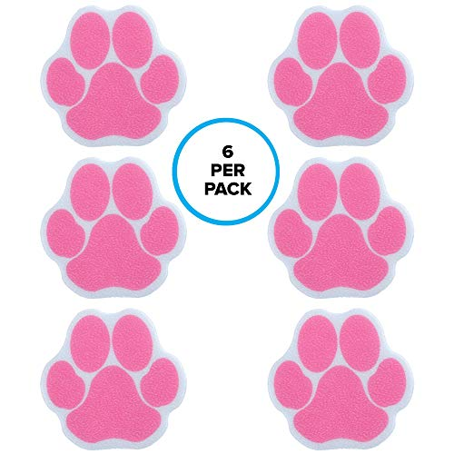 SlipX Solutions Adhesive Paw Print Bath Treads Add Non-Slip Traction to Tubs, Showers, Pools, Boats, Stairs & More (6 Count, Reliable Grip) (Pink) ()