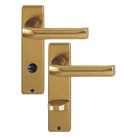 Garnitur HOPPE Kurzschild T/ürdr/ückergarnitur f/ür den Wohnbereich Aluminium F4 Bronze London 113//202KP BB
