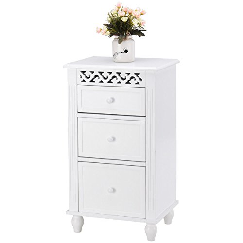One Drawer Cupboard - Giantex Storage Floor Cabinet W/One Cabinet Two-Layer Adjustable Shelves & One Drawer Wood Bathroom Cupboard Organizer Kitchen Collection Cabinet Shelf Nightstand Beside End Table White (2 Drawer)