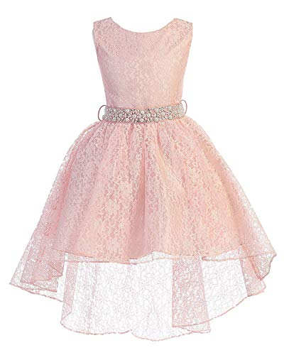 High Low Lace Dress Rhinestones Belt Pageant Flower Girl Dress Blush Pink Size 20