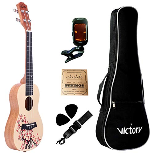 VIVICTORY Concert Painted Ukulele 23 Inch Spruce Mahogany with Beginner kit : Gig Bag,Tuner,Straps,Picks and Nylon String - Plum ()