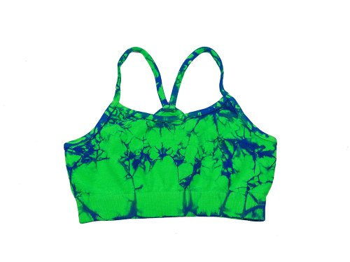 Lizatards Tie Dye Stretch Bra Top in Lime/Royal Blue - - Two Bandeau Tone