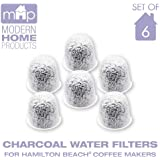 Charcoal Water Coffee Filter Cartridges, Replaces Hamilton Beach Water Coffee Filters- Set of 6