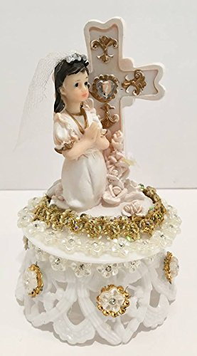 (First Communion Girl with Cross on Plastic Base Cake Topper Decoration)