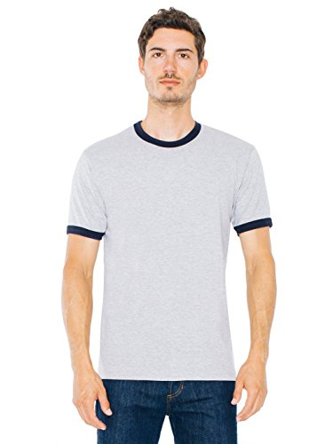 Mens Ringer T-shirt - American Apparel Men Fine Jersey Short Sleeve Ringer T-Shirt Size L Heather Grey