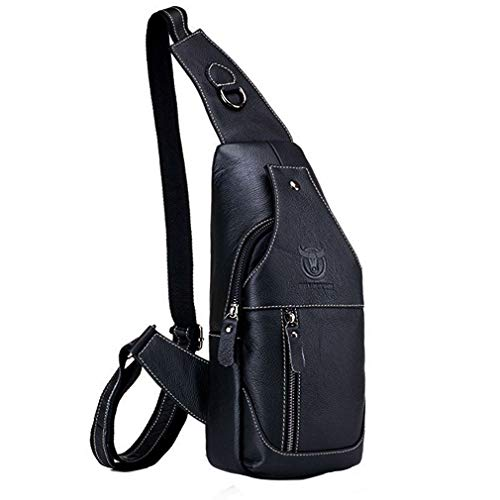 Vintage Leather Sling Bag Backpack for Men Crossbody Shoulder Chest Day Pack Backpacks Black