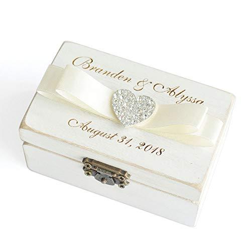LOVEhandmade Custom Wedding Ring Box, Personalized Ring Bearer Box, Wooden Rings Holder, Wooden Box for Rings, Custom Name & Date]()