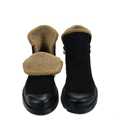Uomo Cerniera Flats Da Di Furry Footwear Mucca Casual Safety Laterale Scarpe Calda Scamosciata Stivaletti Work Fur Stivali Invernali In Pelle PqwRnBR6Ex