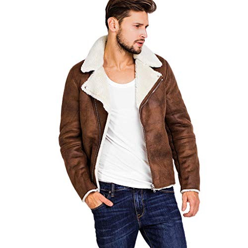 Christmas Men's Autumn Winter Warm Fur Liner Zipper Leather Plus Velvet Outwear Top Mountain Thick Jackets Coat (Khaki, 3XL)