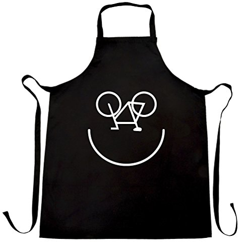 Cycling Chefs Apron Bicycle Smile Face Logo Black One Size