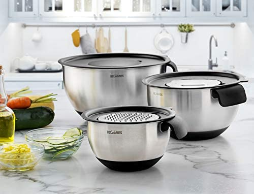 Stainless Steel Mixing Bowls with Lids - Nesting Bowls with Graters, Handle, Pour Spout, Airtight Lids - Non-Slip Mixing Bowl Set for Cooking, Baking, Prepping, Food Storage (Set Of 3)