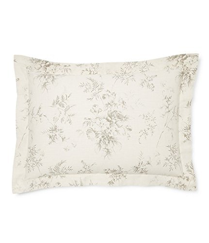 Ralph Lauren Hoxton Collection Ainslie Floral King Pillow Sham, Cream Grey - Ralph Lauren Bedding Collections