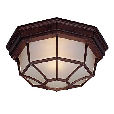 Acclaim 2002BW Flush Mount Collection 2-Light Ceiling Mount Outdoor Light Fixture, Burled Walnut
