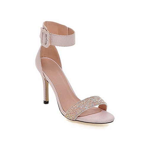 VogueZone009 Women's Blend Materials Assorted Color Buckle Open Toe Spikes Stilettos Sandals Pink BSJWTcd