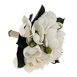 Fityle Artificial Bouquet Magnolia Floral Bridal Valentine Wedding Favors 8