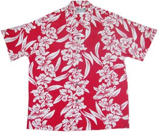 Red Rayon Retro Shirt - Kamehameha Vintage Shirt - White Orchid Panel Men's Hawaiian Aloha Retro Style Rayon Dress Shirt in Red - 3X