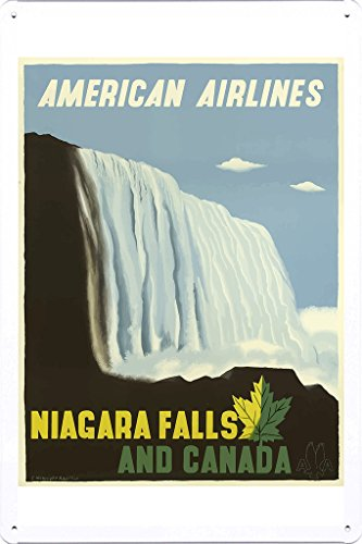 Tin Sign of Retro Vintage Travel Poster Niagara Falls And Canada (20x30cm) By Nature Scene -
