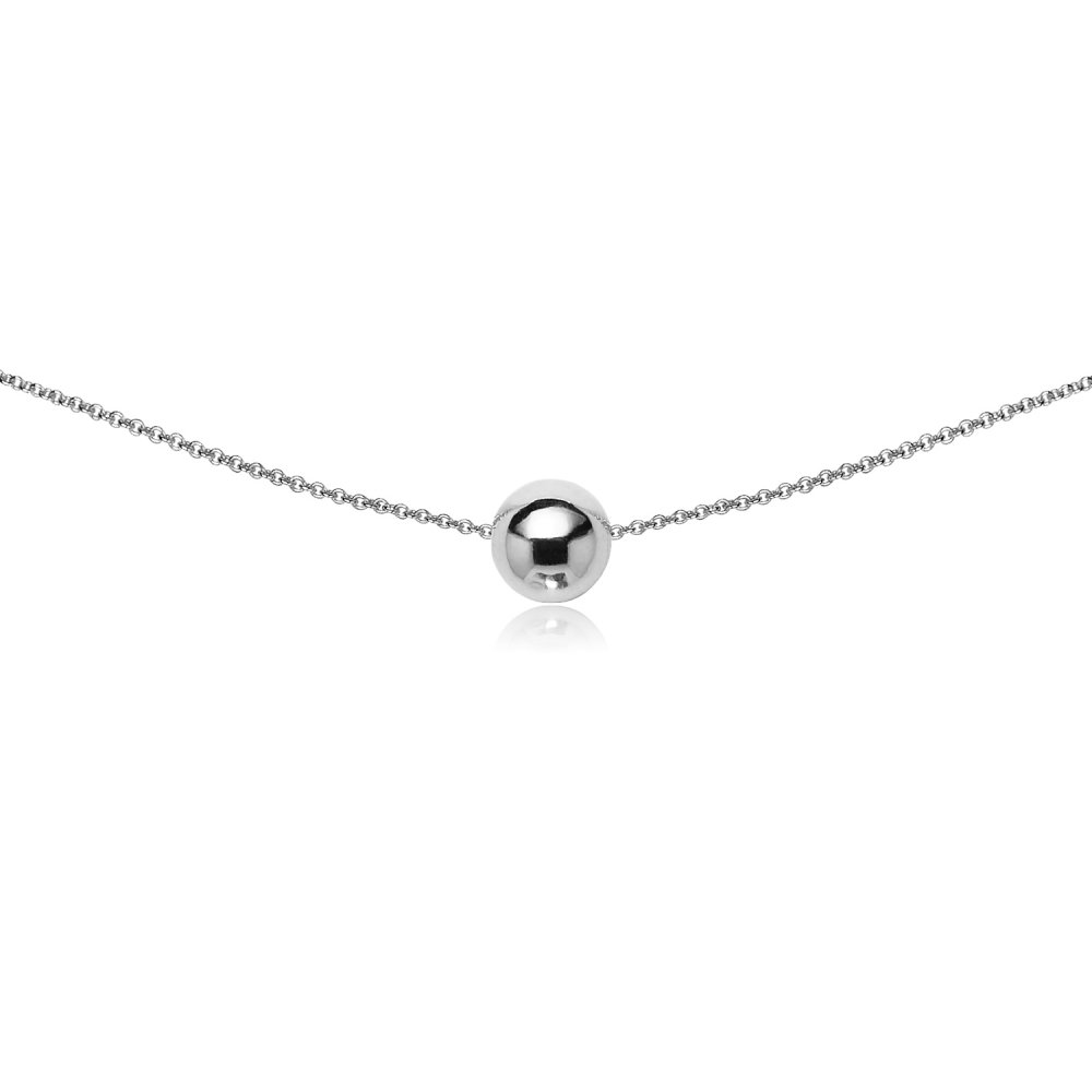 GemStar USA Sterling Silver High Polished 8mm Bead Ball Dainty Choker Necklace