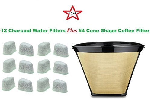 #4 Cone Shape Permanent Coffee Filter & a set of 12 Charcoal Water Filters for Krups Coffeemakers True Modern Electronics