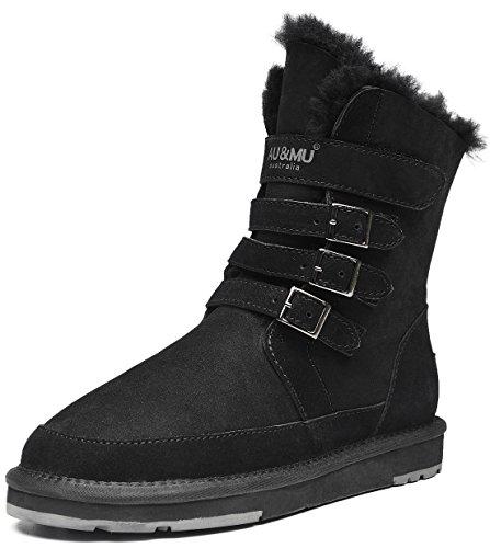 Aumu Womens Mid Calf Snow Boots Short Winter Boots Black Size 7