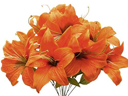 JumpingLight Orange Tiger Lily Bush Satin Artificial Flowers 19'' Bouquet 11-8225OR Artificial Flowers Wedding Party Centerpieces Arrangements Bouquets Supplies