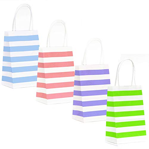 12-Count Stripes Kraft Bags - Premium Paper Pastel Color Bags with Handles, Biodegradable & Sturdy, Food Safe Shopping Bag, Gift Bag (Pastel, 12 Ct Small) -