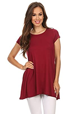 Women's Solid Casual Short Sleeve Loose Fit Pockets Knit Shirt Tunic Top Tee/Made in USA