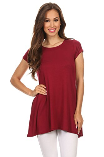 - Short Sleeve Loose Fit T Shirt Tunic Top with pocket/Made in USA. Maroon 2XL