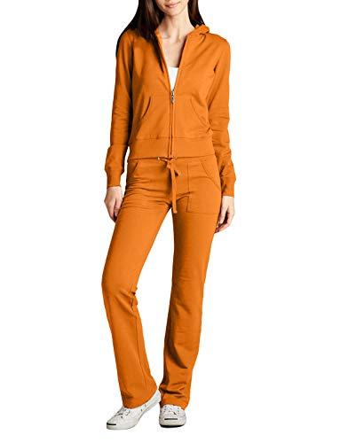 NE PEOPLE Womens Casual Basic Terry Zip Up Hoodie Sweatsuit Tracksuit Set S-3XL
