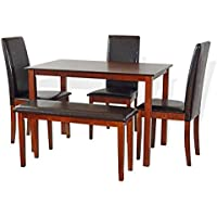 Dining Kitchen Set of 5 Rectangular Classic Table 3 Side Chairs Fallabella Stained Bench Dark Walnut