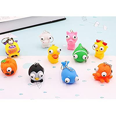 8 Pack Raised Eyes Doll Anti Stress Ball Vent Animal Keychain Squeezing Toys, Random Style: Toys & Games