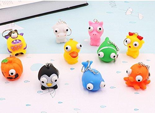 8 Pcs Raised Eyes Doll Anti Stress Ball Vent Animal Keychain Squeezing Toys ()