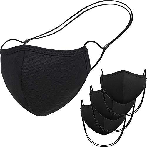 Atzi Hats – Reusable 3 Layer Face Mask, Black Cloth Masks For Kids, Adults, Washable Masks with Adjustable Mask Straps