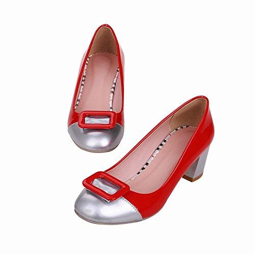 Pumps Red Chunky Mid Womens Two Fashion Dress toned Shoes Heel Latasa W8q1Ov