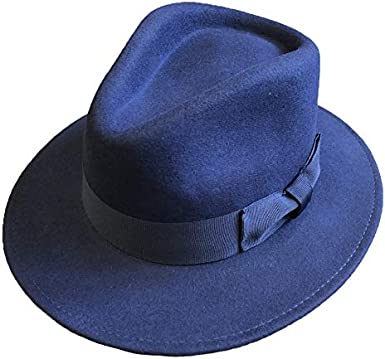 High Quality Crushable Hand Made Gents Indiana 100/% Wool Felt Fedora Trilby Hat With Wide Band