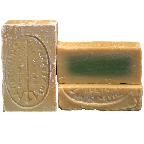 Patounis grüne Olivenseife 2er Pack (2 x 115gr), reine vegane Olivenseife aus 100% Olivenkernöl, handgesiedet aus der Seifenmanufaktur Patounis auf Corfu seit 1850, kein Parfum, keine Zusatzstoffe, ideal für Allergiker, Bioseife