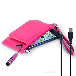 Caseflex Huawei Ascend Y330 Case Hot Pink PU Leather Purse Cover With Mini Stylus Pen And Micro USB Cable